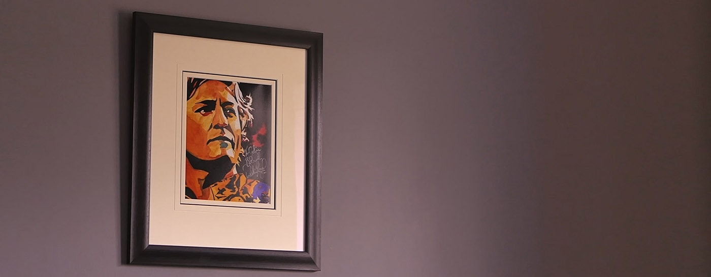 framed picture on wall