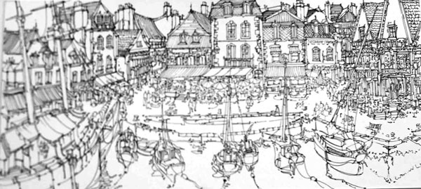 Robert Cairns DA - 2008 Drawings : Le Port, St Goustan