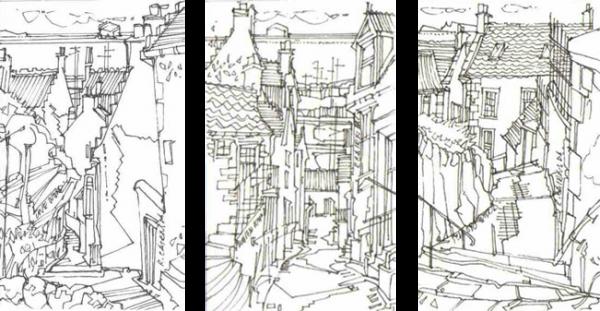 Robert Cairns DA - 2008 Drawings : Wynds, Pittenweem - Triptych 2