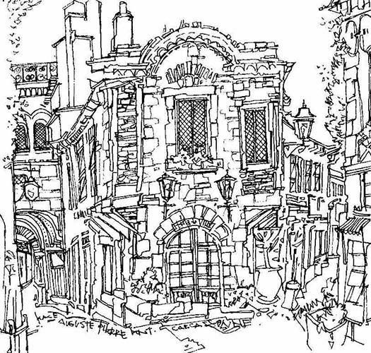 Robert Cairns DA - 2007 Drawings : Place d'Auguste, Carcassonne