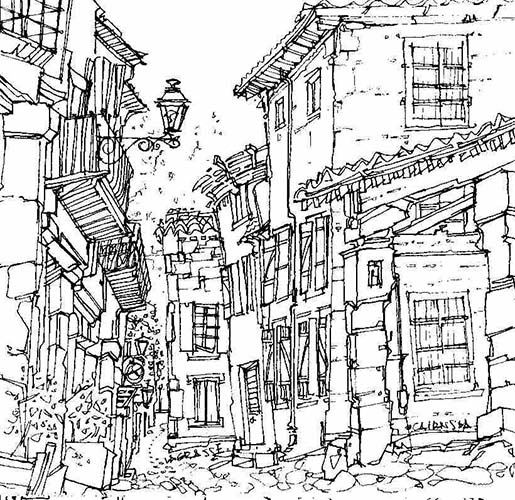 Robert Cairns DA - 2007 Drawings : Les Halles, Lagrasse